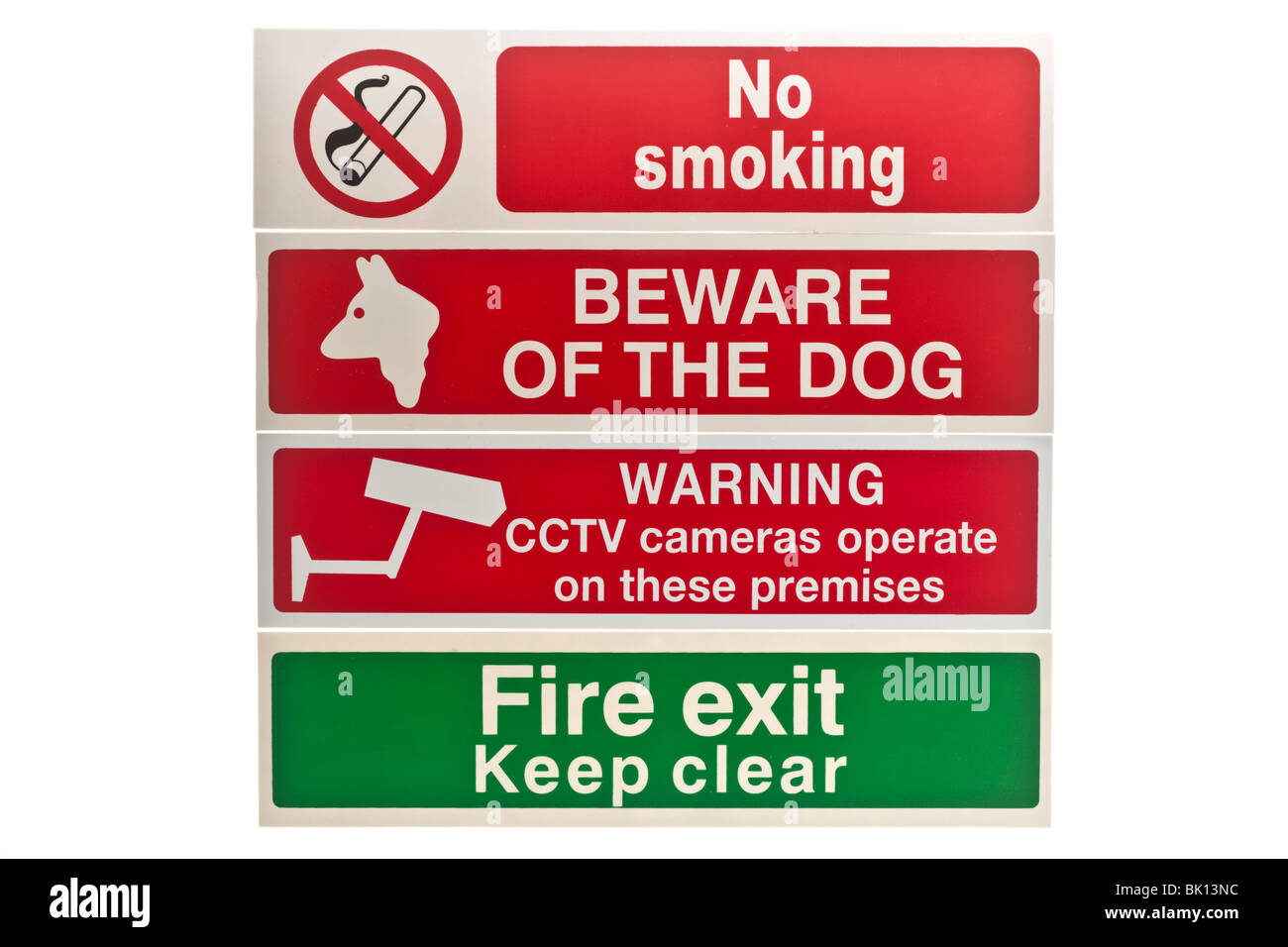 Four Warning and information labels - Stock Image