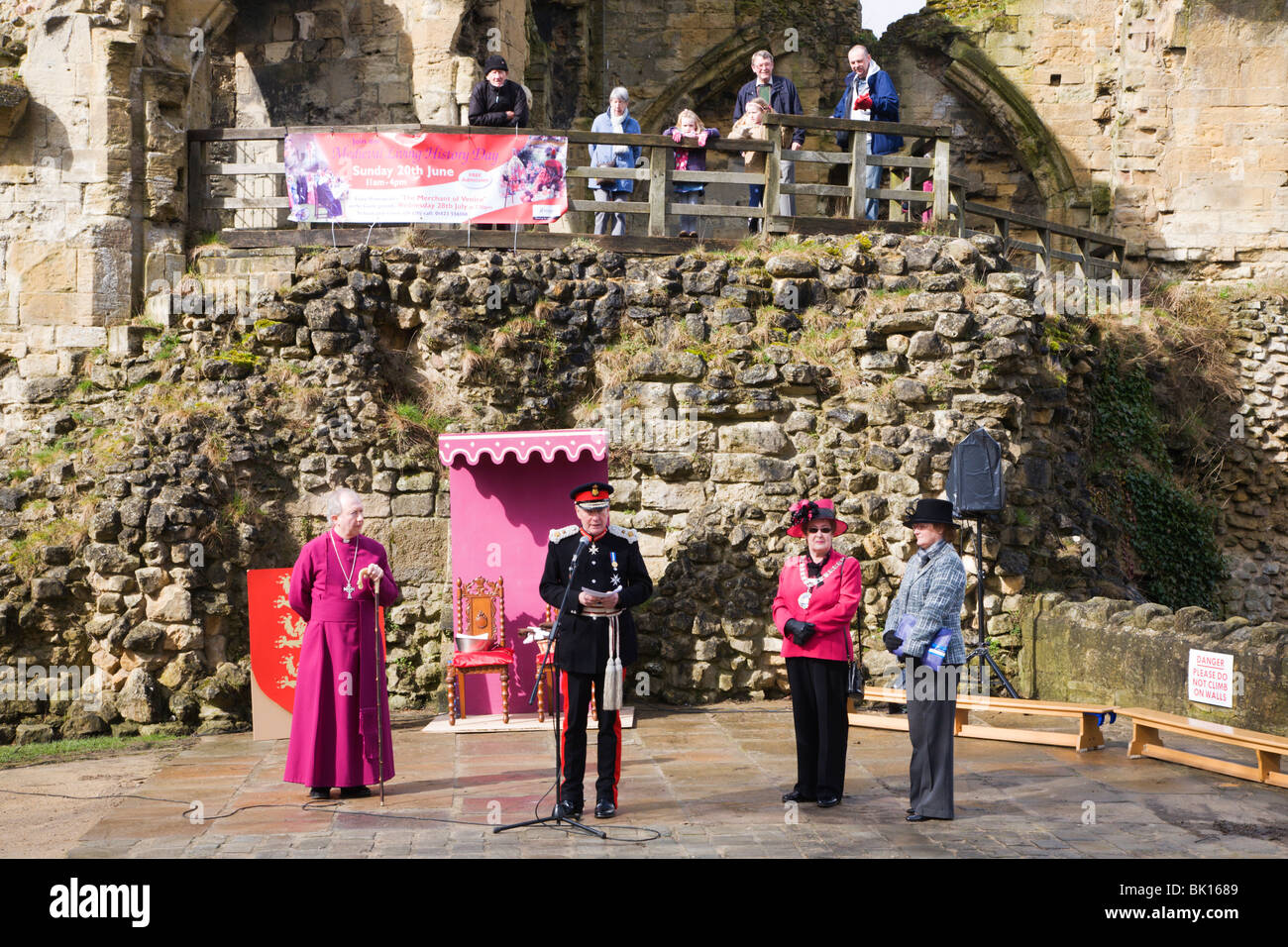 The Lord Lieutenant opening the 800th Maundy Celebrations Knaresborough Castle Yorkshire England - Stock Image