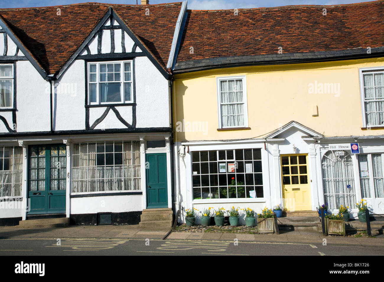 Georgian shop fronts on Market Hill, Woodbridge, Suffolk - Stock Image