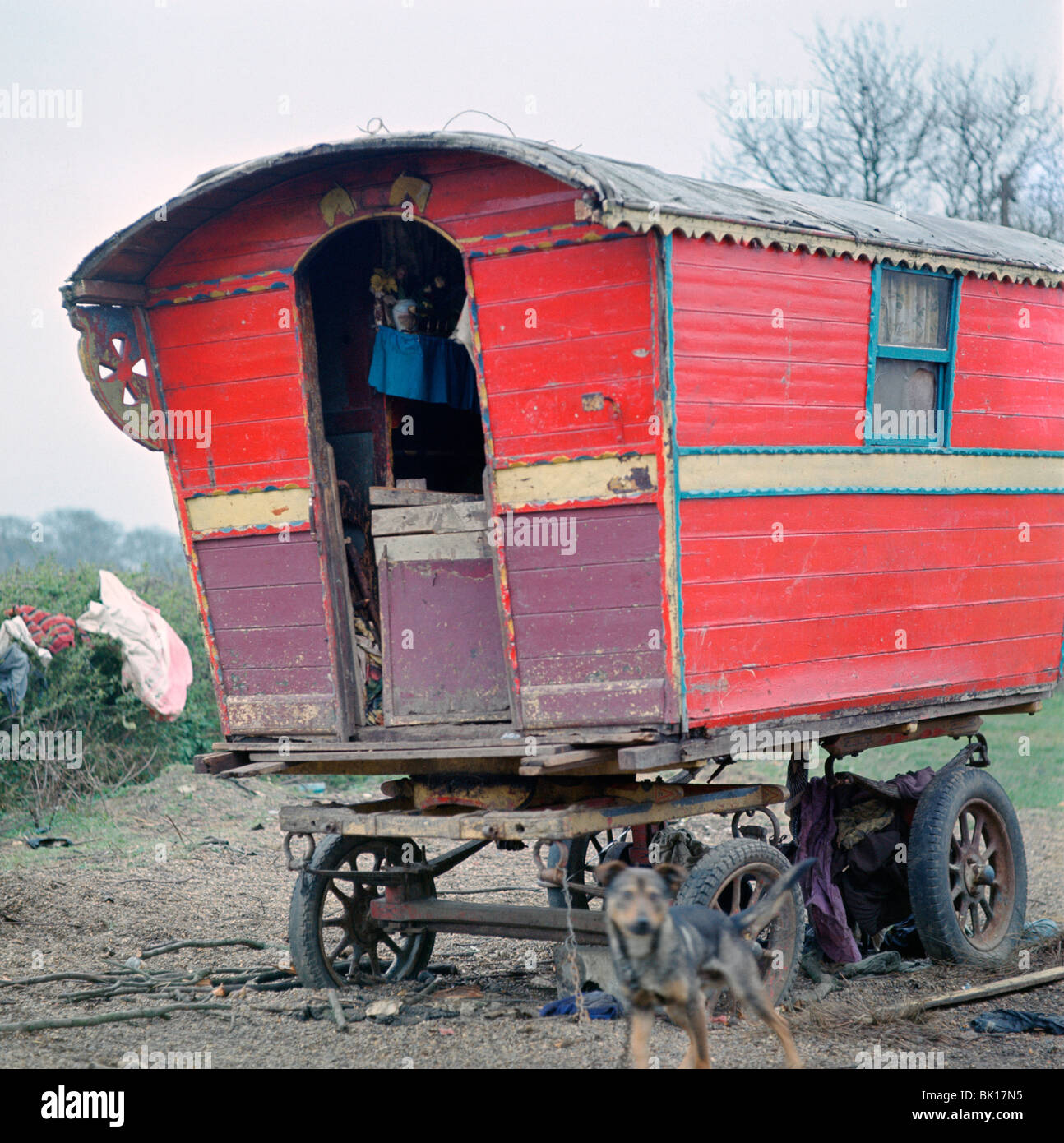 Caravan of the Vincent family, gipsies, Charlwood, Newdigate area, Surrey, 1964. - Stock Image