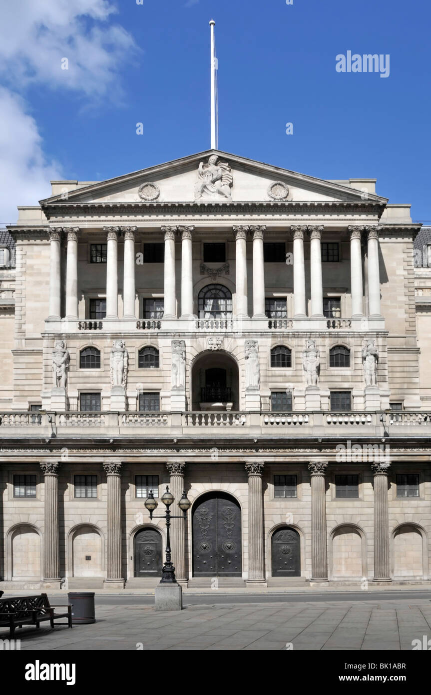 City of London Bank of England doors shut with quiet streets on a Sunday Threadneedle Street City of London England - Stock Image