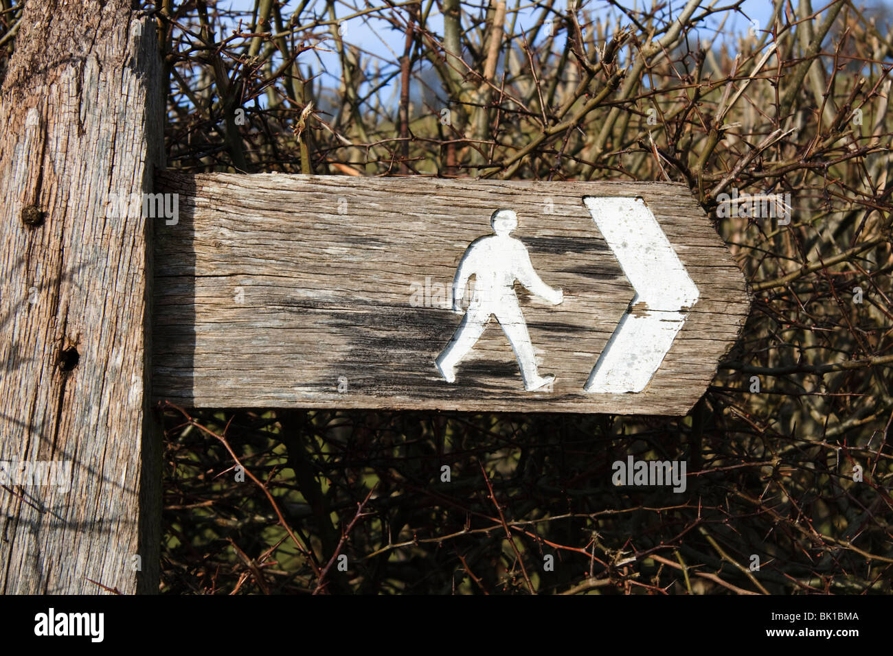 Public footpath sign post, Mid Wales - Stock Image