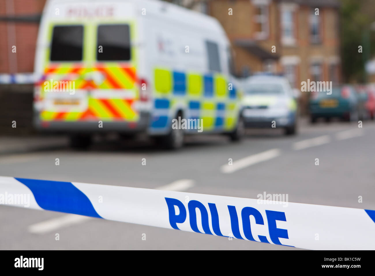Police Mobile Station and Police Line - Stock Image