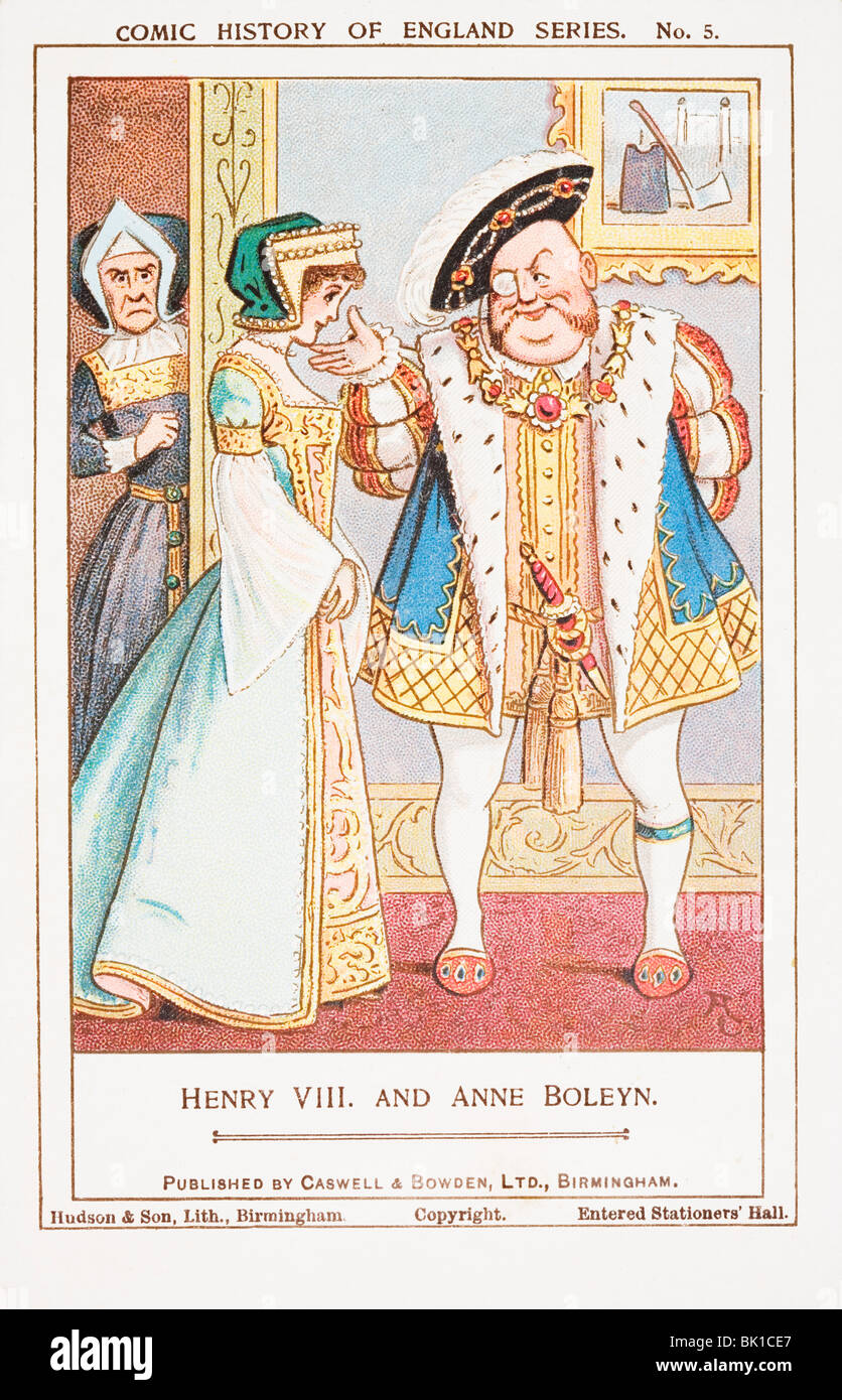 Henry VIII and Anne Boleyn. Comic history of England series collectors' card. - Stock Image