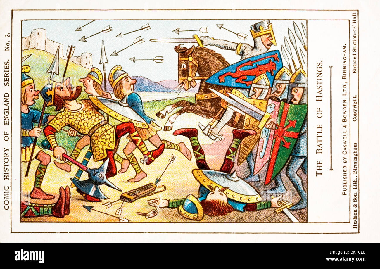 Comic History of England card. Battle of Hastings, showing William the Conqueror and King Harold with the arrow - Stock Image