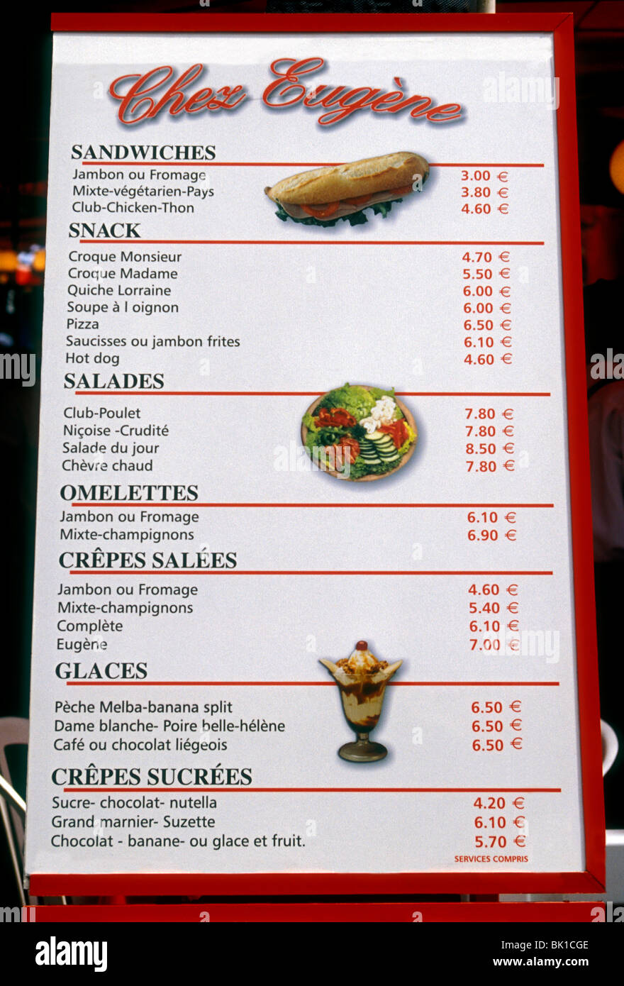 menu, chez eugene restaurant, chez eugene, french restaurant, french