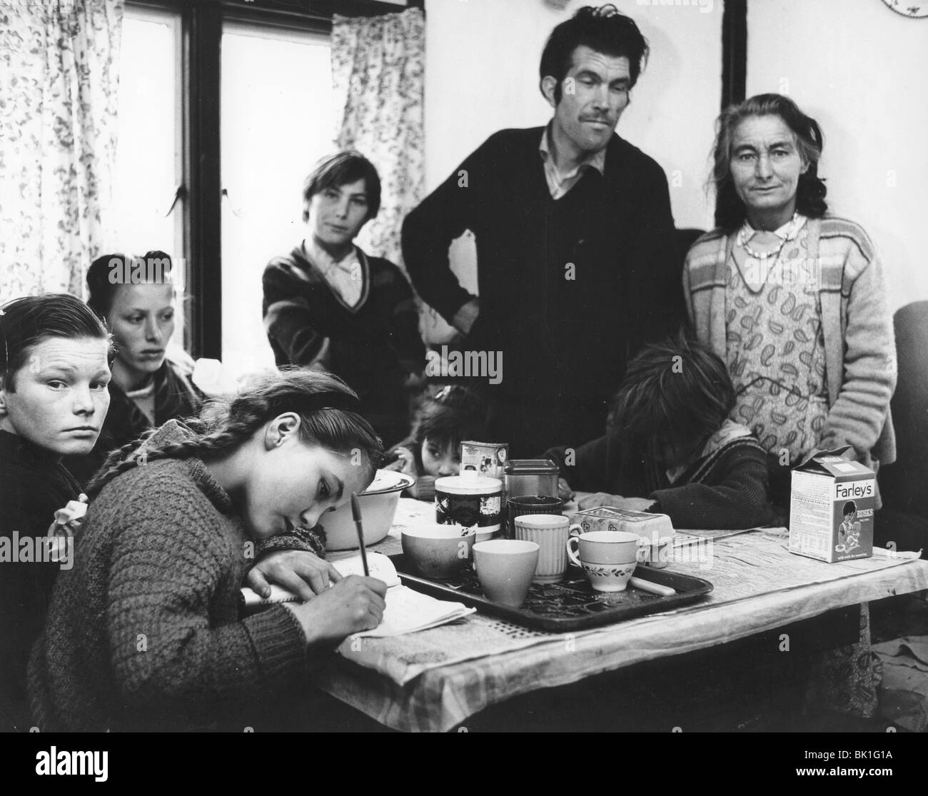 Roadside gipsy family re-housed, 1960s. - Stock Image