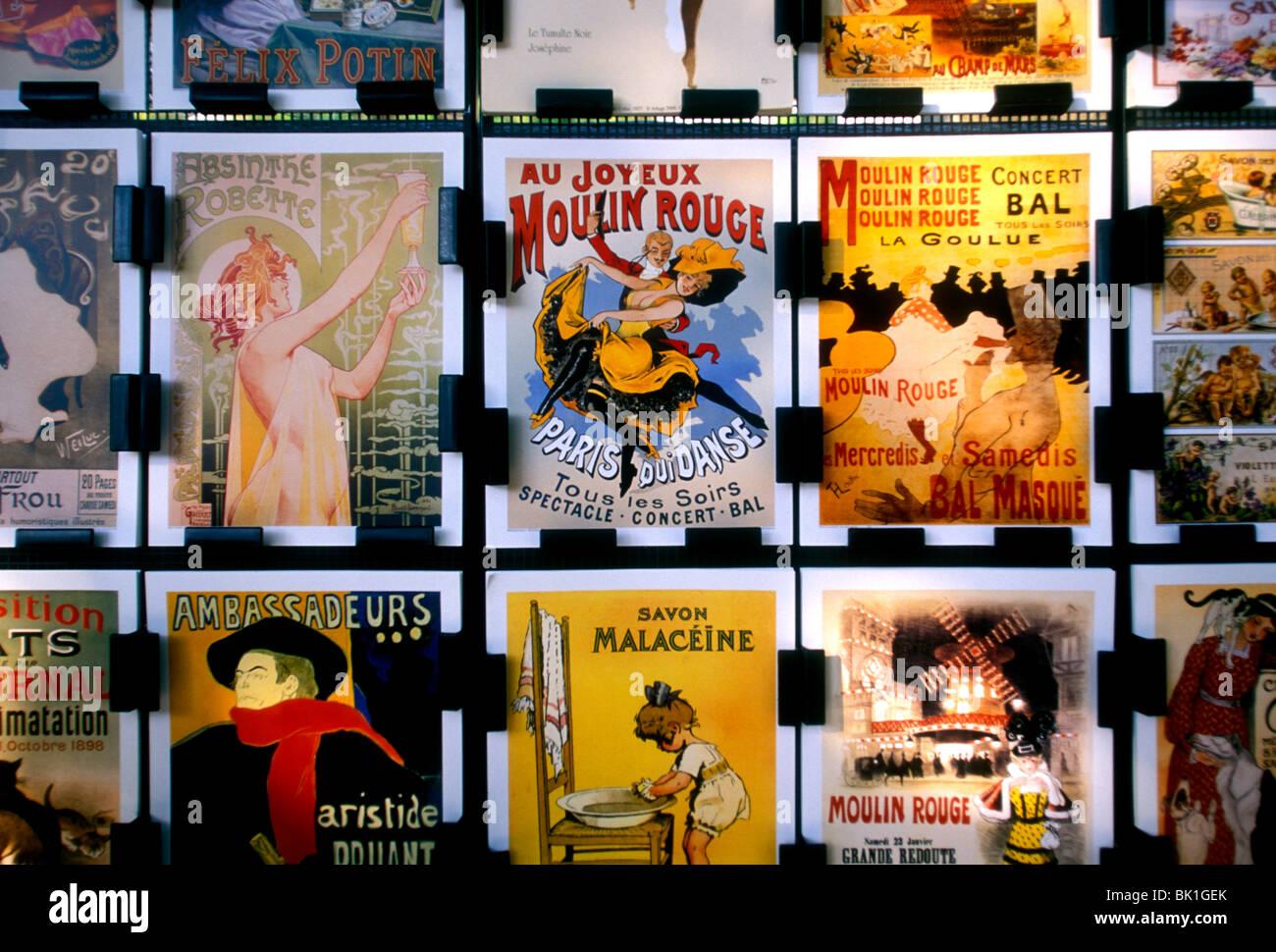 postcards for sale on postcard rack along quai on Seine River near Place St Michel in Paris France Europe Stock Photo