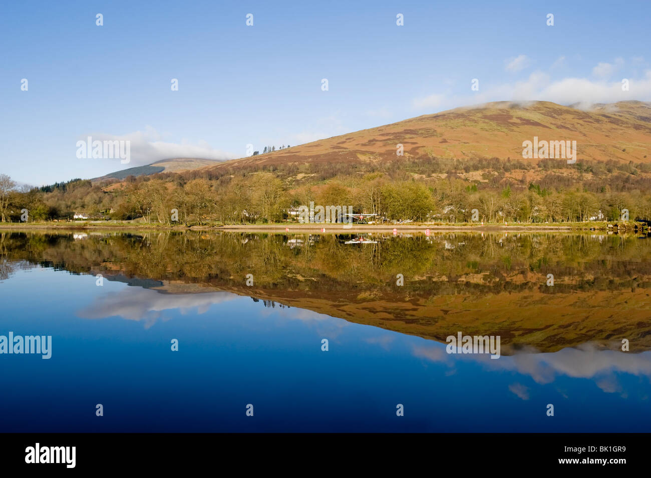 View from kayak of Loch Earn Perthshire Scotland - Stock Image