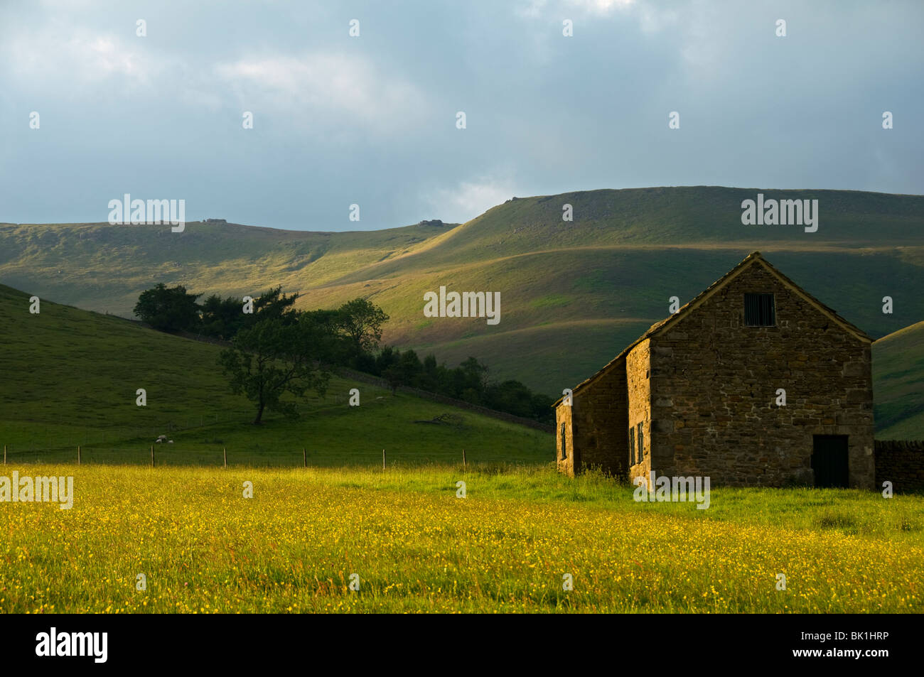Barn below the Kinder Scout plateau, Edale, Peak District, Derbyshire, England, UK - Stock Image