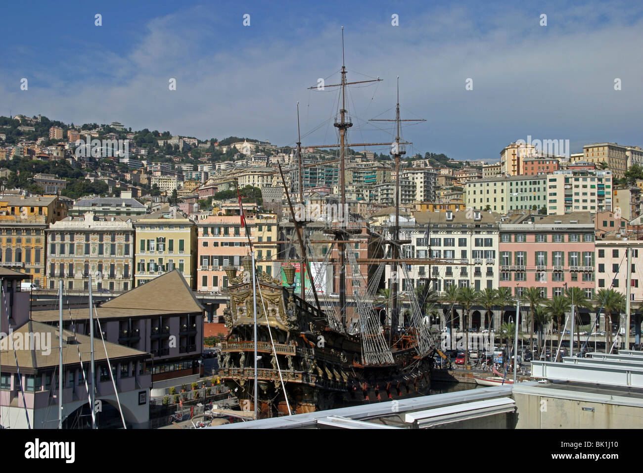 Italy, Genoa, Cityscape and the city harbour - Stock Image