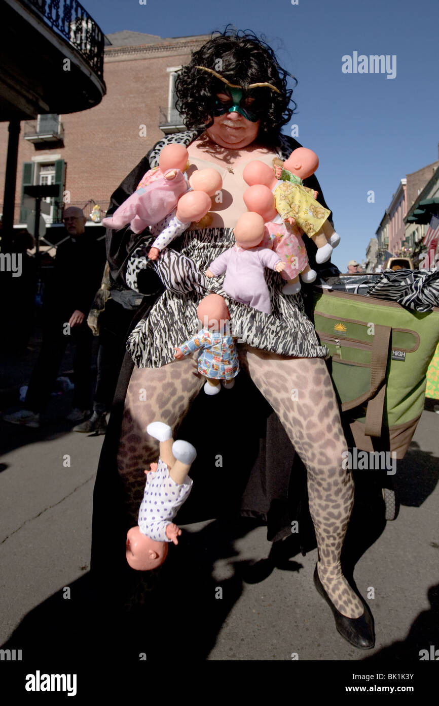 Partying depravity and costumes in French Quarter, Mardi Gras 2010, New Orleans, Louisiana - Stock Image