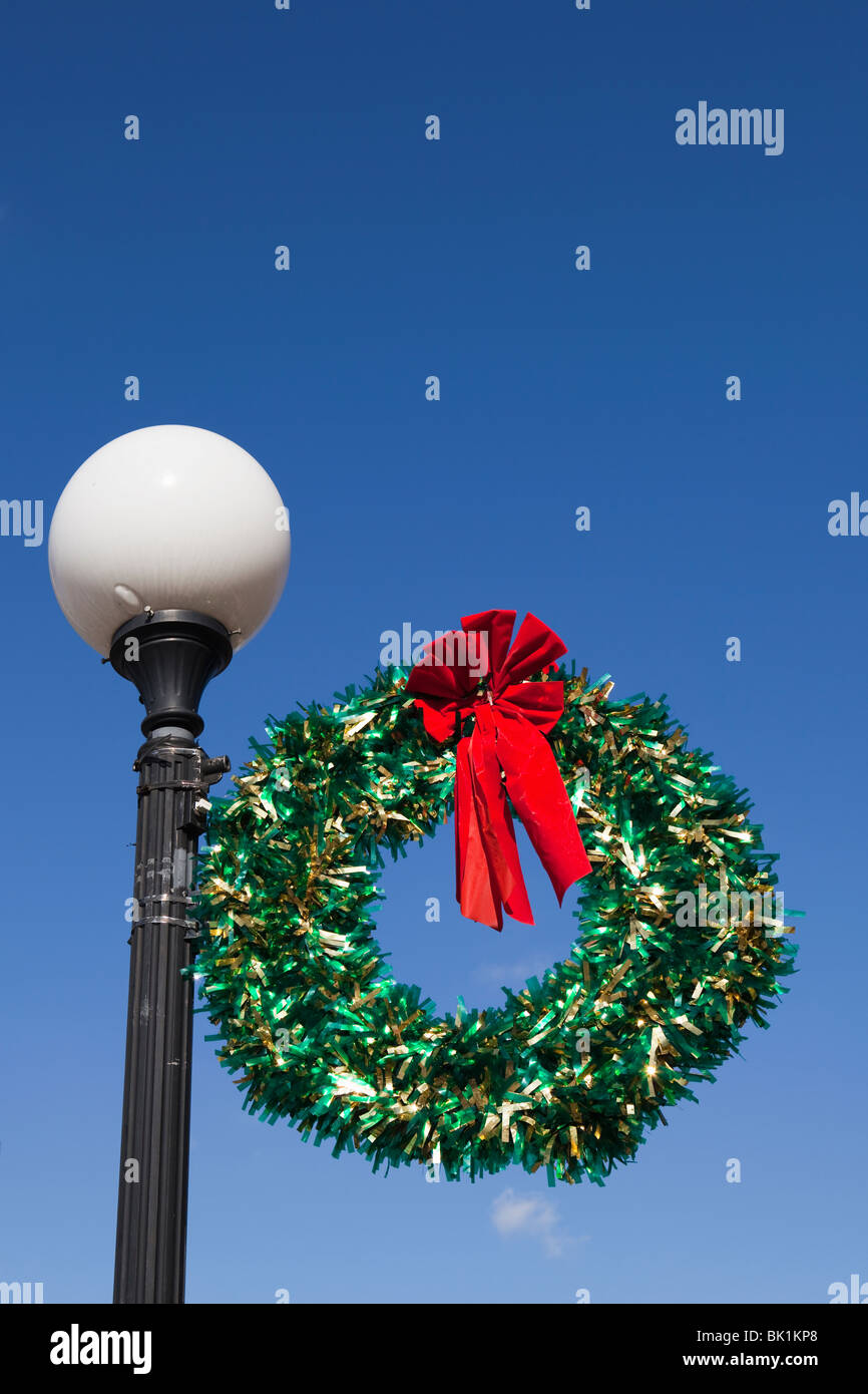 christmas wreath on light pole stock image