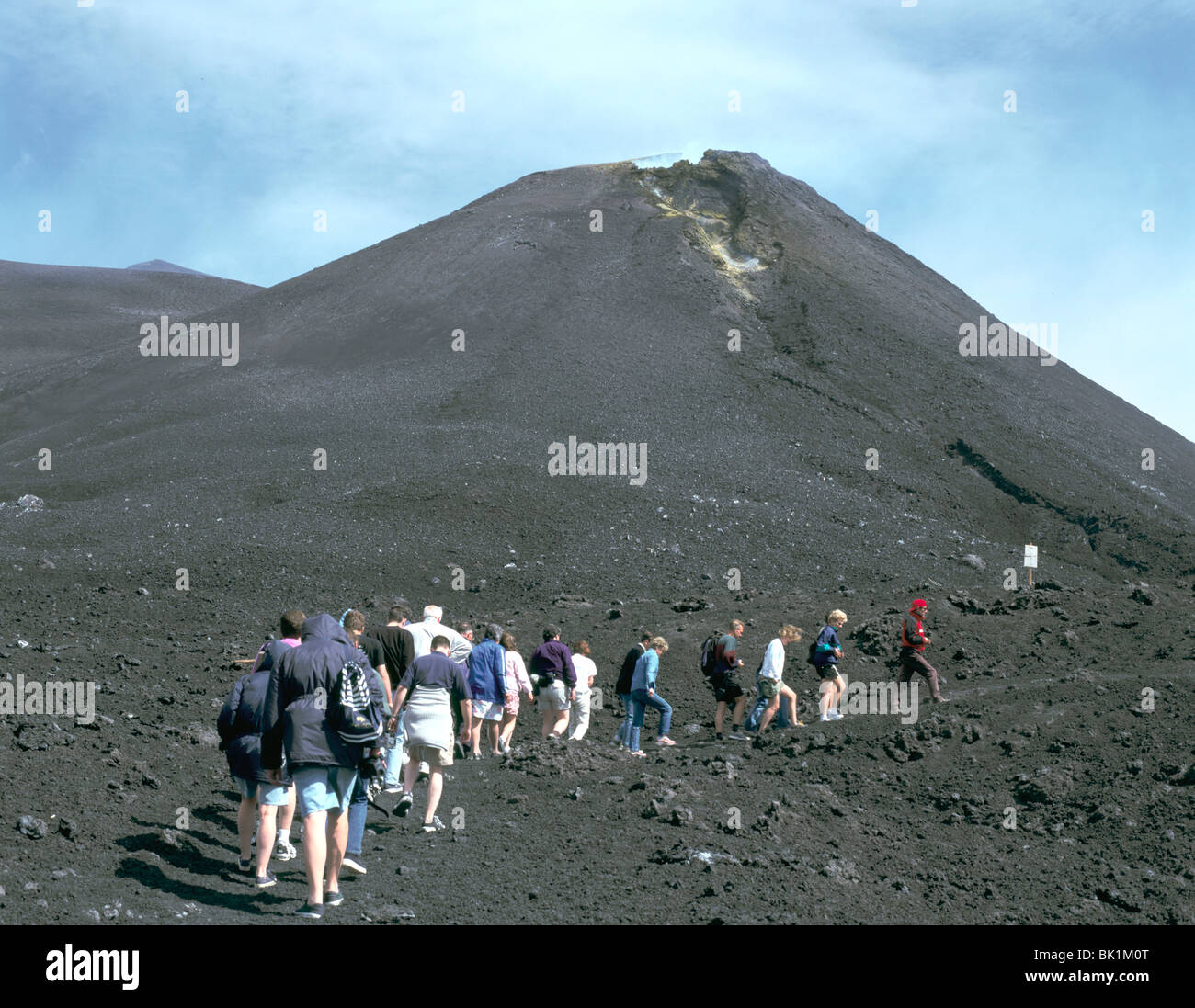 Guided tour to lava fields, Mount Etna, Sicily, Italy. - Stock Image