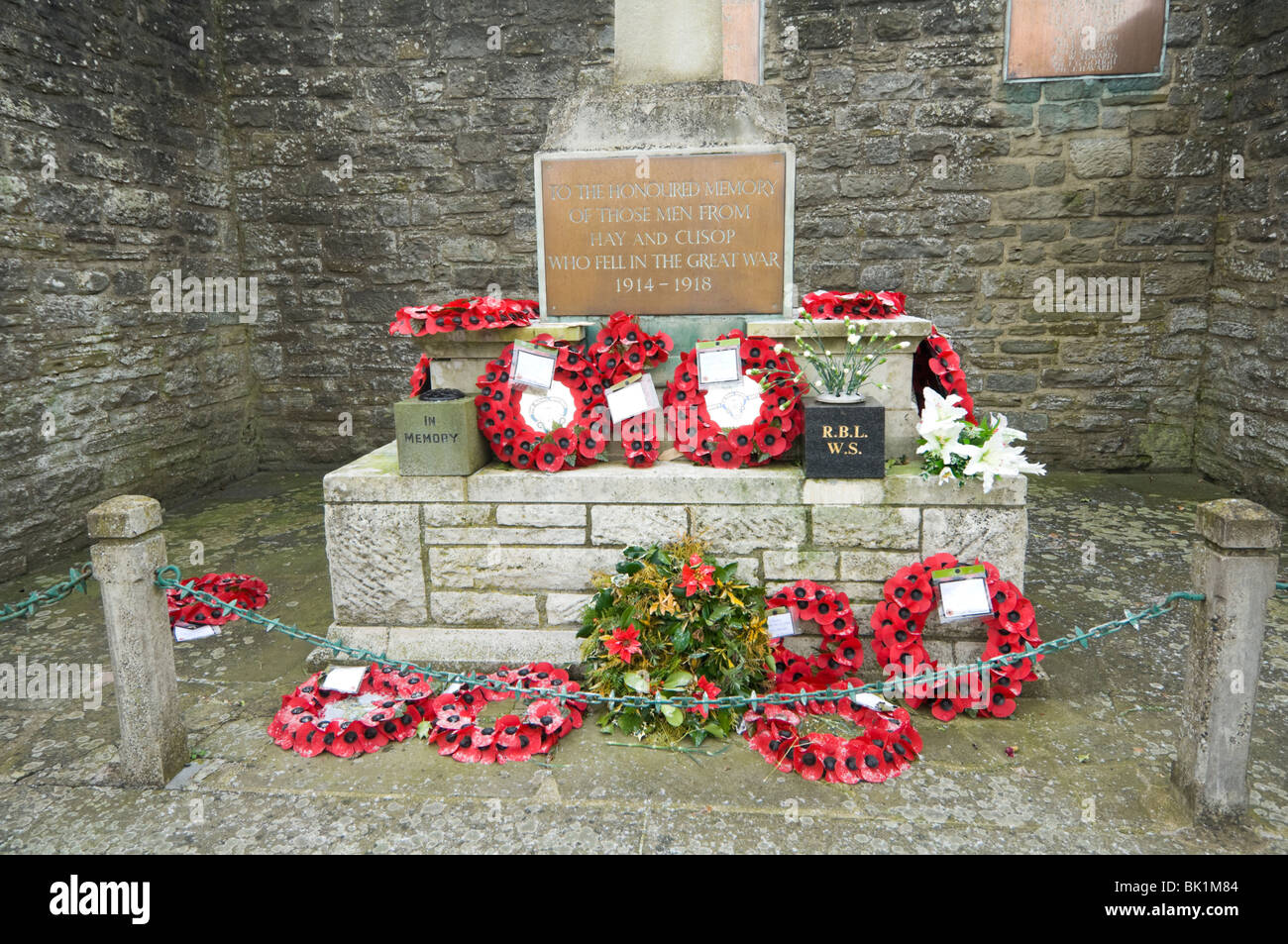 War Memorial Hay-on-Wye Herefordshire UK - Stock Image