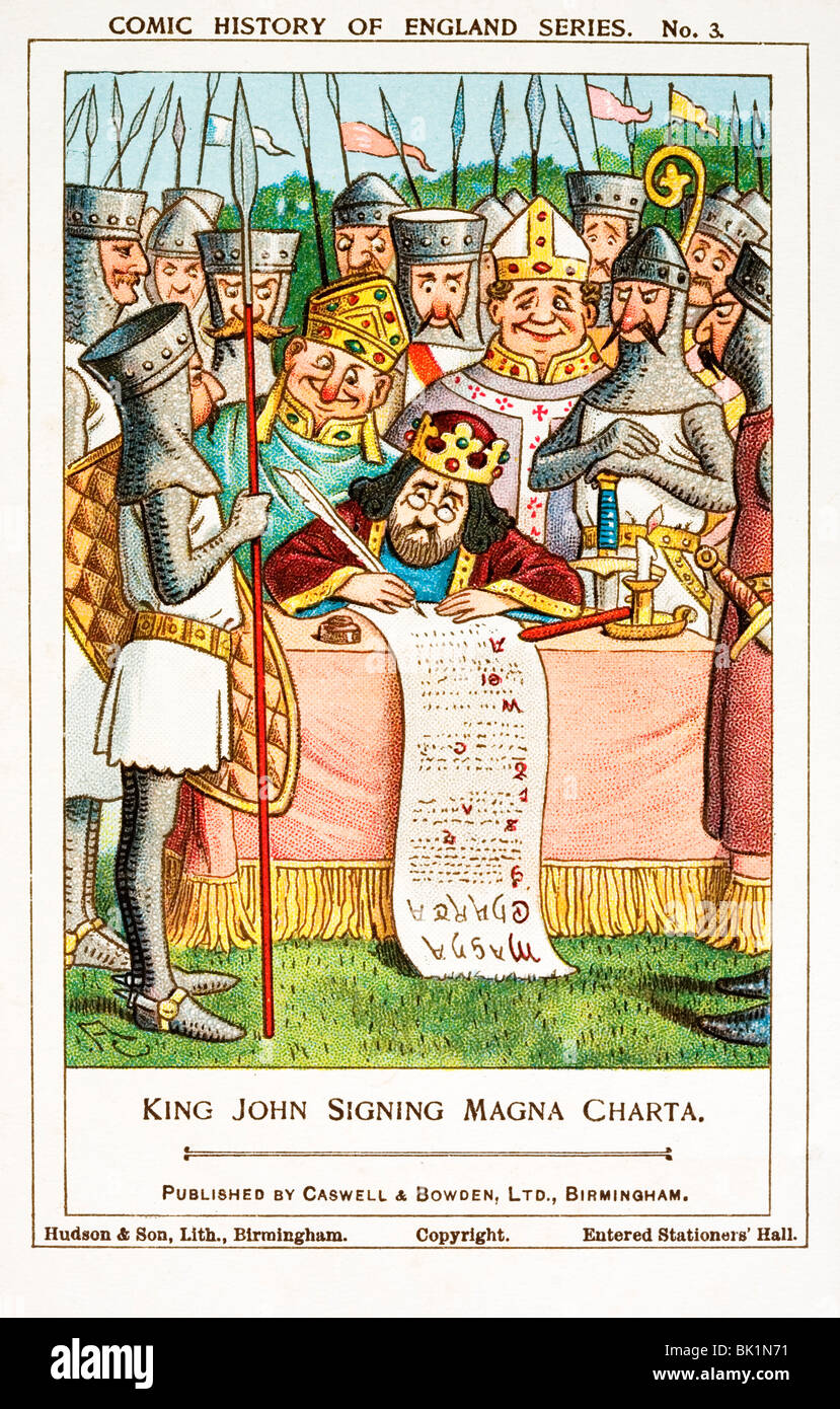 King John signing the Magna Carta in Runnymede in 1215. Comic history of England series collectors' card. - Stock Image