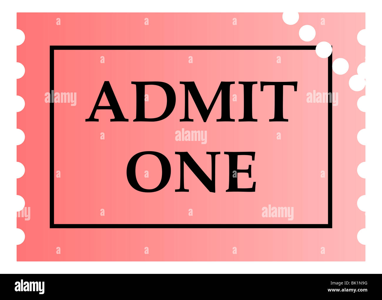 Admit One Pink Ticket Template With Copy Space Isolated On White - Admit one ticket template