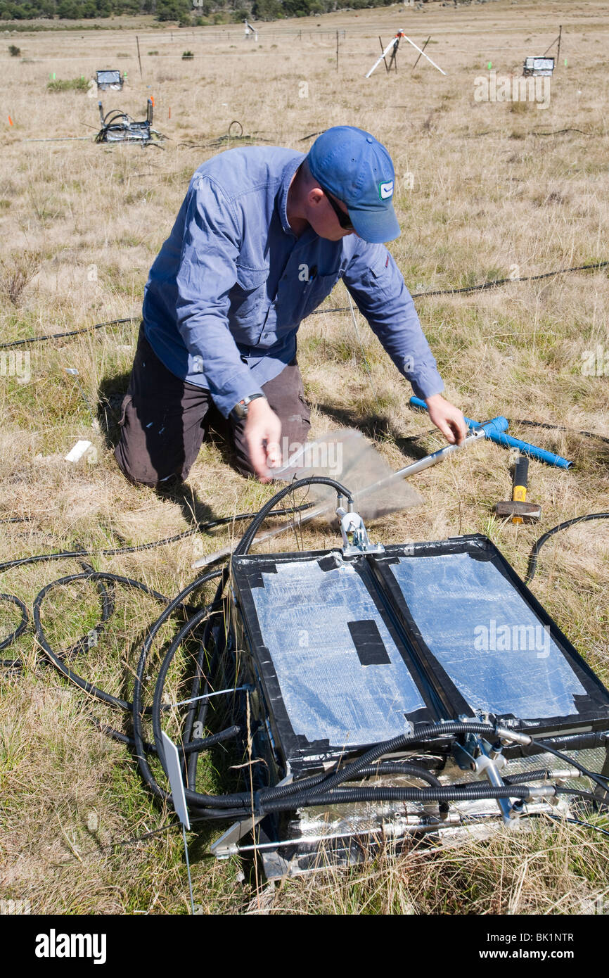 A scientific experiment by scientists from Sydney University, Australia, studying C02 exchange between soil and - Stock Image