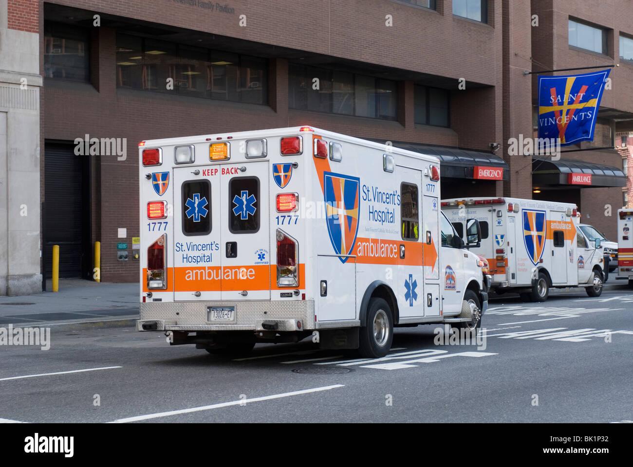 Ambulances outside St  Vincent's Catholic Medical Center in