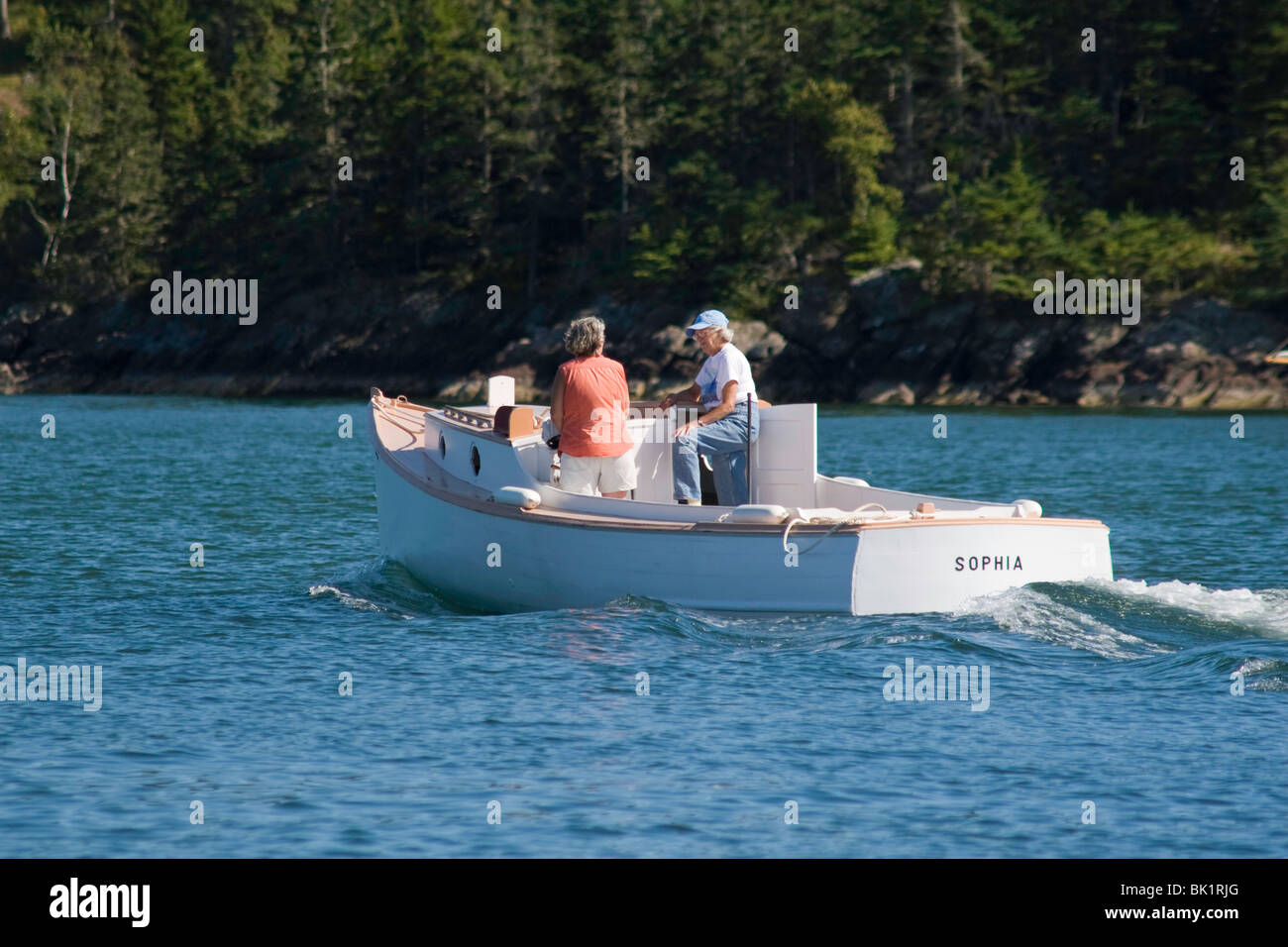 The Motor Launch SOPHIA out for a harbor tour on a fine day in the Fox Island Thorofare, Maine - Stock Image