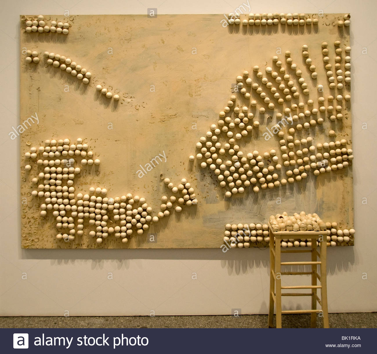 Marcel Broodthaers Belgian Belgium Painter Panel with eggs and stool - Stock Image