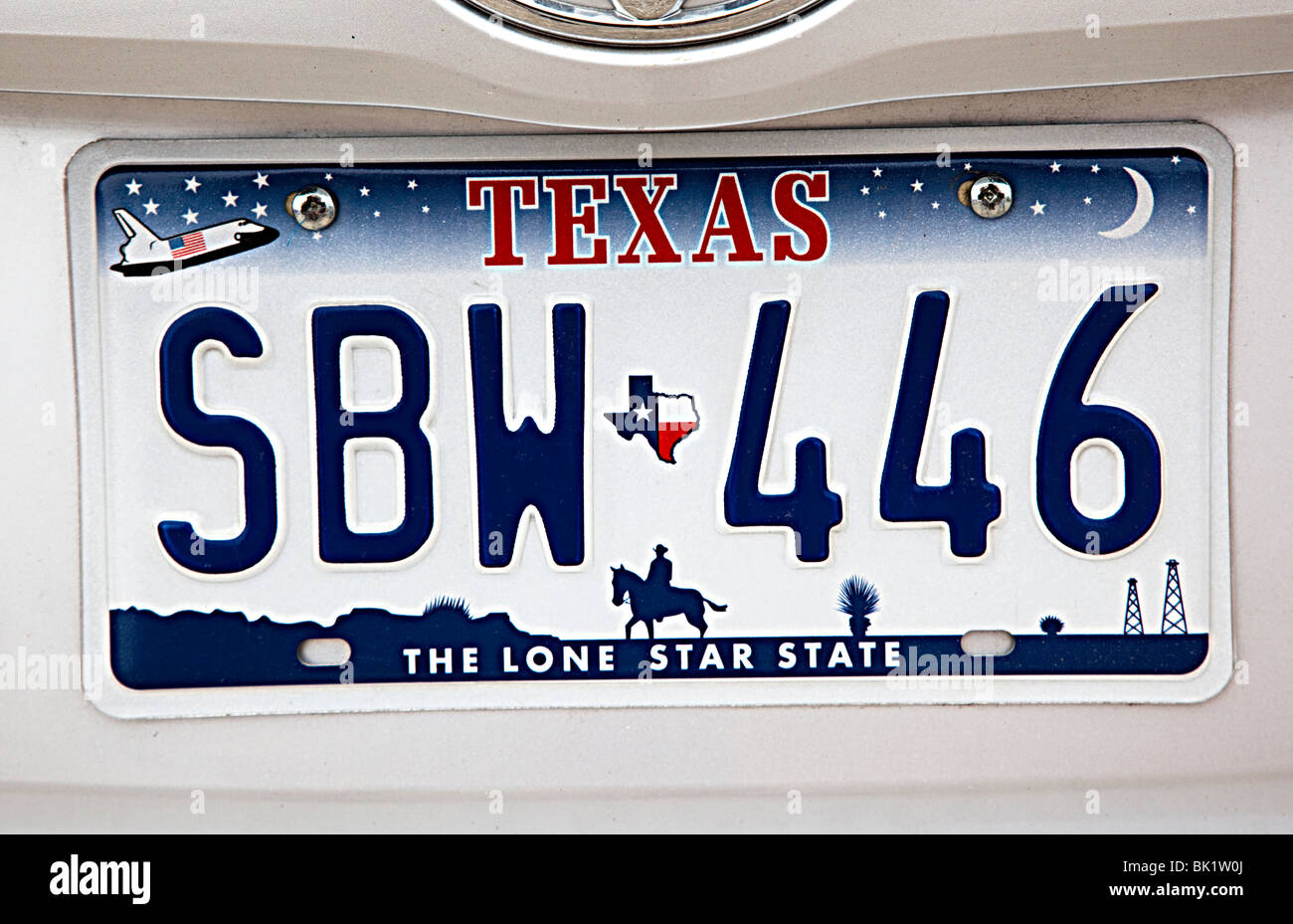 Texas the Lone Star State vehicle number plate Texas USA - Stock Image