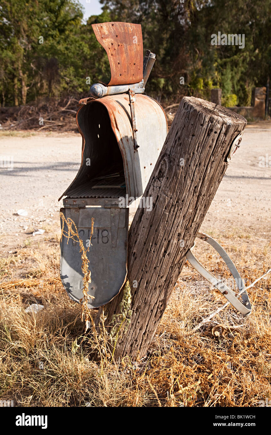 Derelict mailbox at side of road San Antonio Texas USA - Stock Image