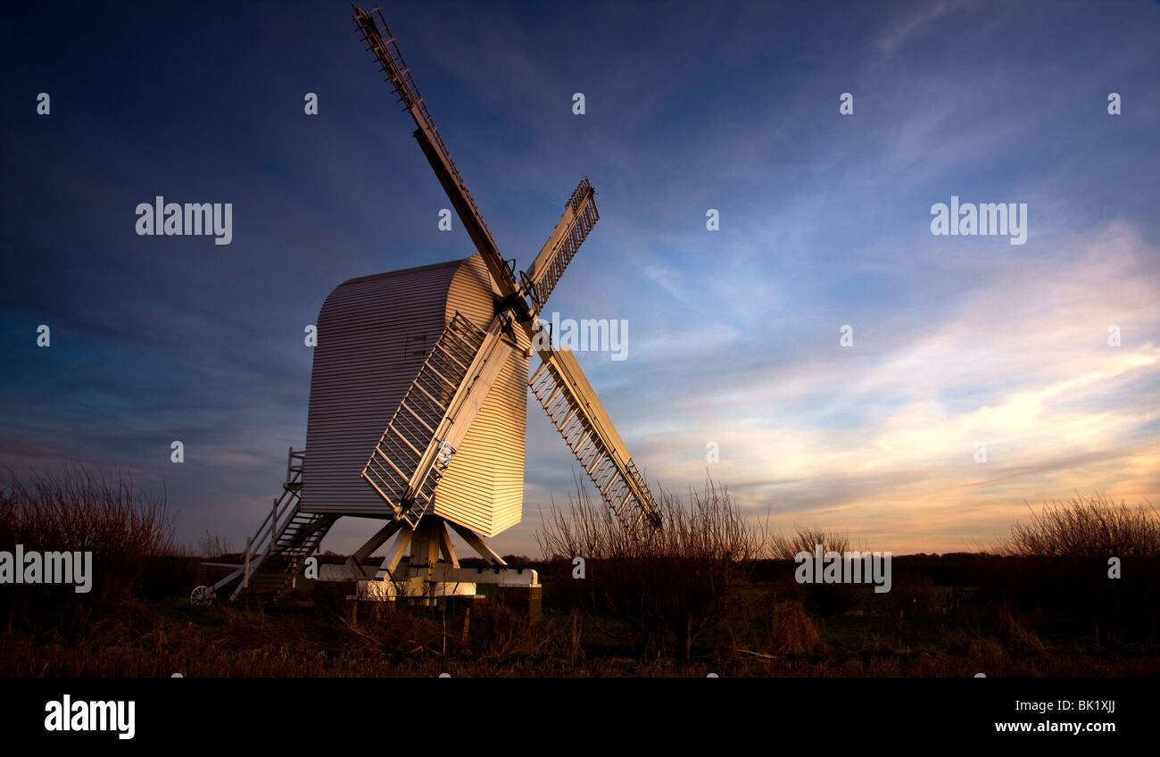 Twilight image of Chillenden windmill Chillenden Kent England which is silhouetted against the evening sky Stock Photo