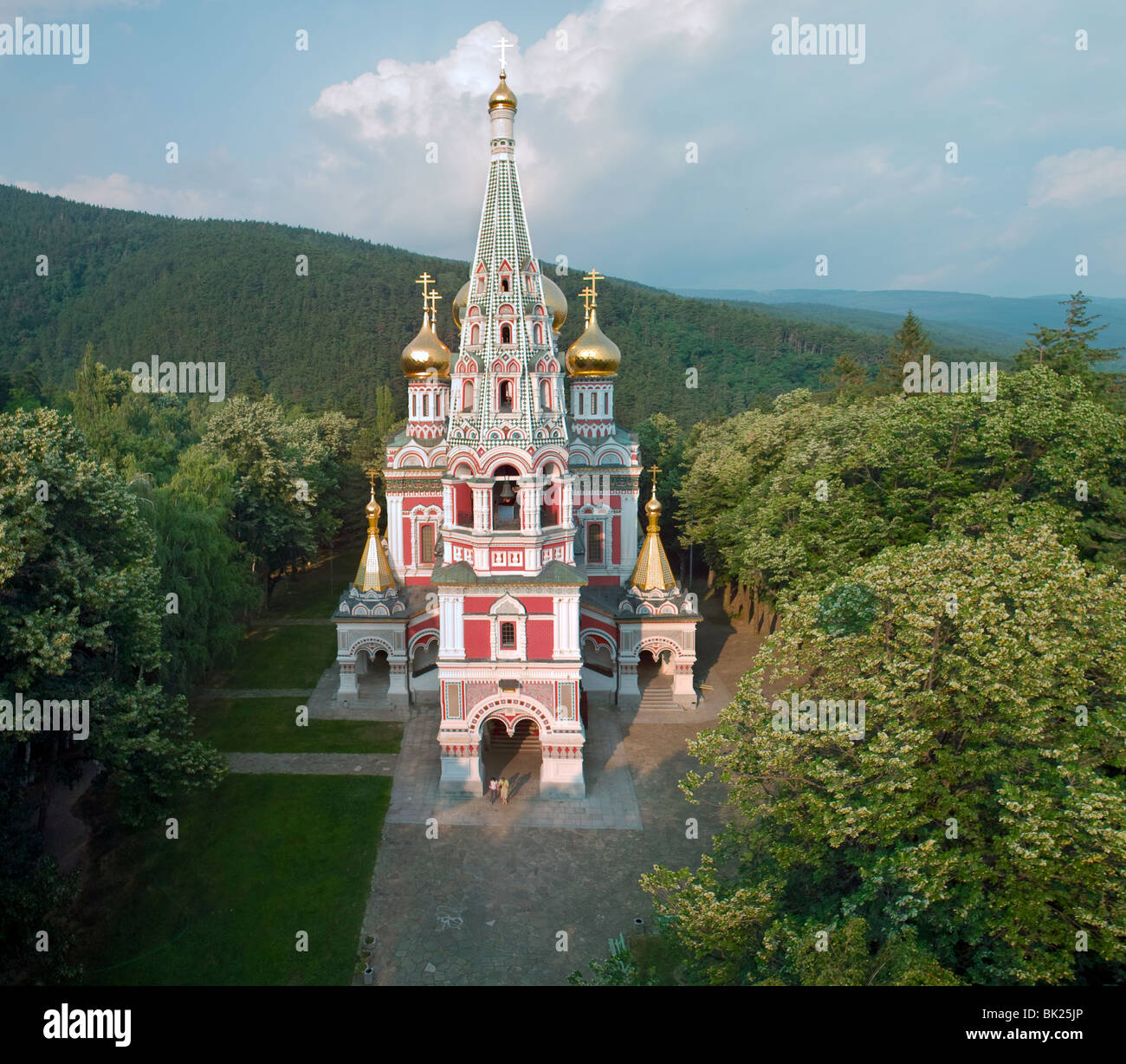 Aerial view of Shipka Monastery in the Balkan Mountains near Kazanlak. - Stock Image