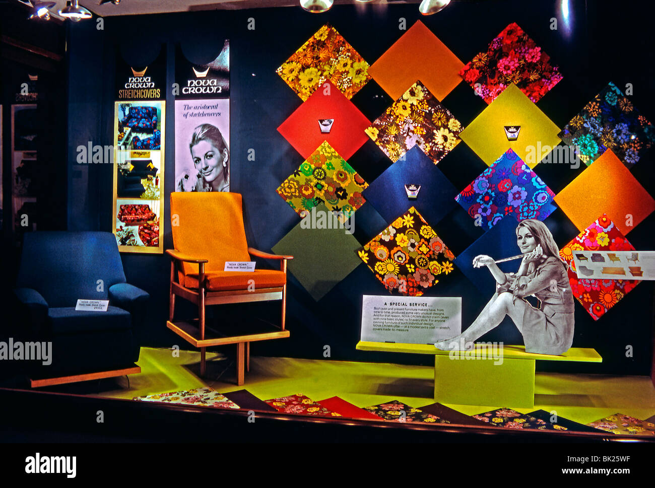 'Swinging sixties' style display for Nova Crown synthetic stretch furnishing fabrics at Hopewells Furniture, - Stock Image