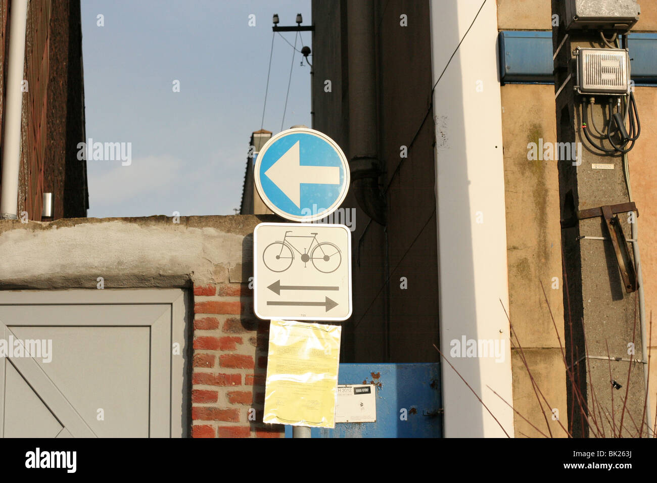Street indication for bikes. Belgium - Stock Image
