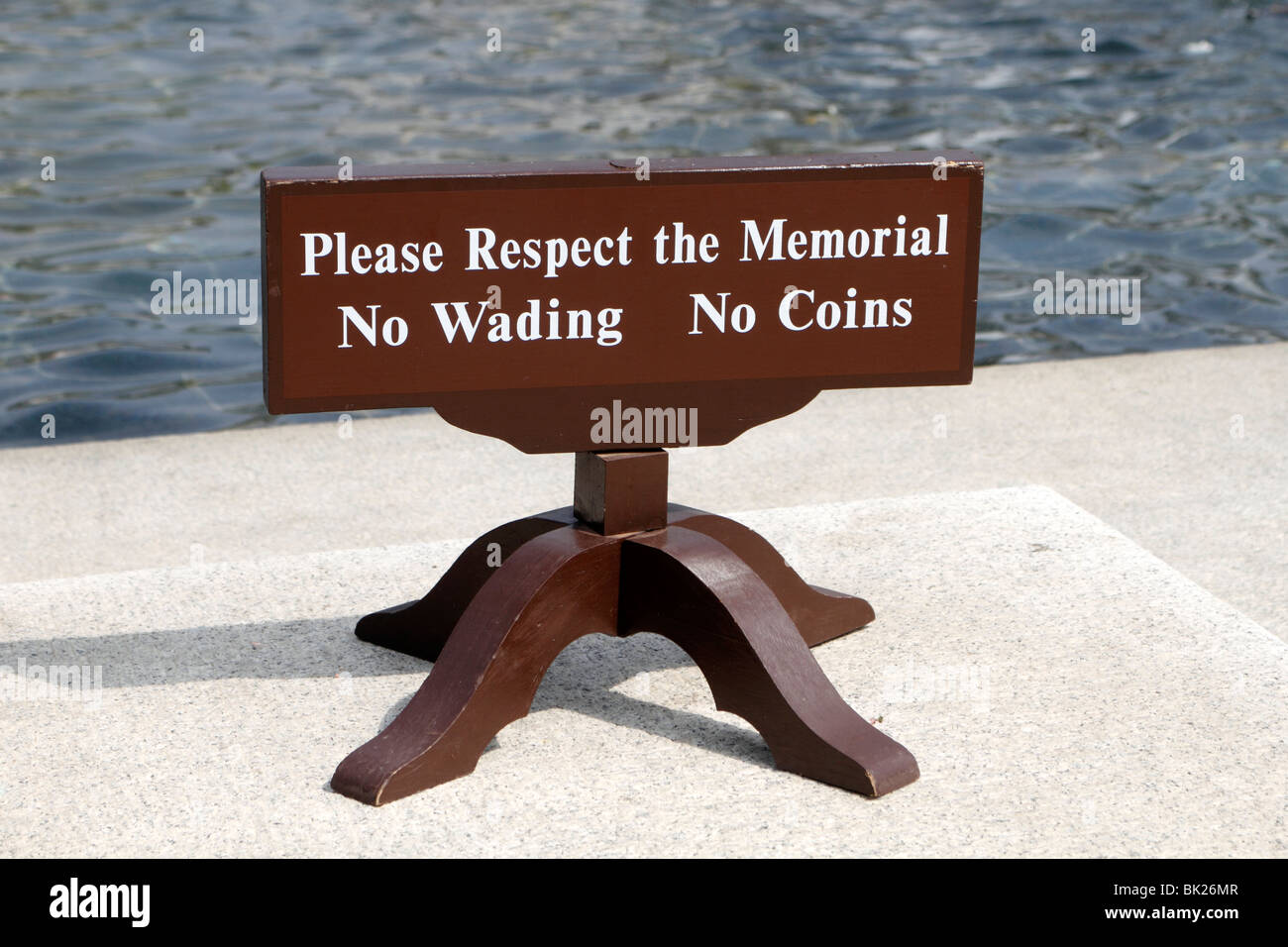 Please Respect the Memorial - No Wading No Coins Sign at World War II Memorial in Washington, DC - Stock Image