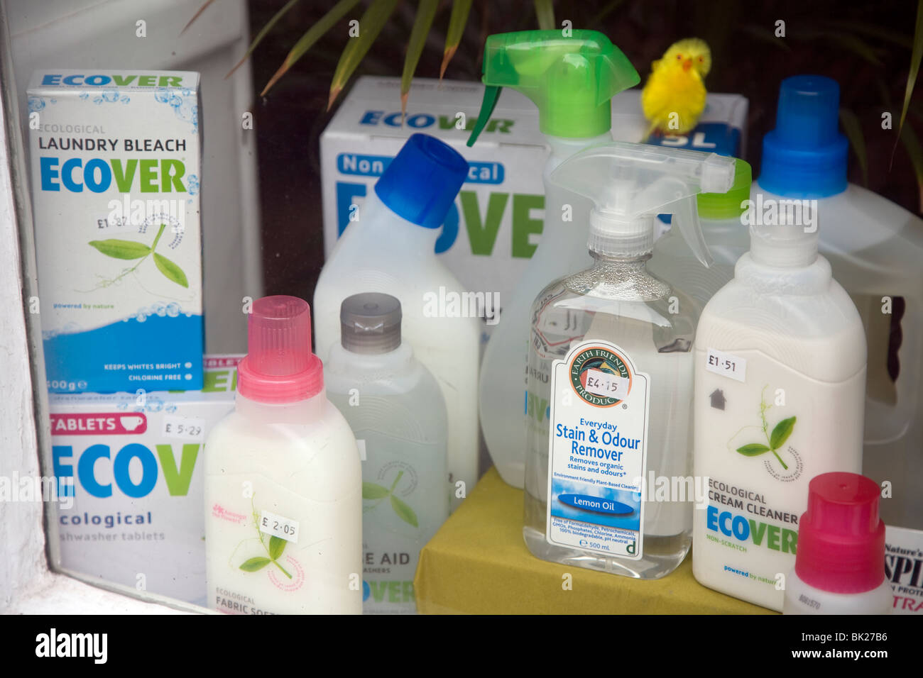 Ecological cleaning products shop window display - Stock Image