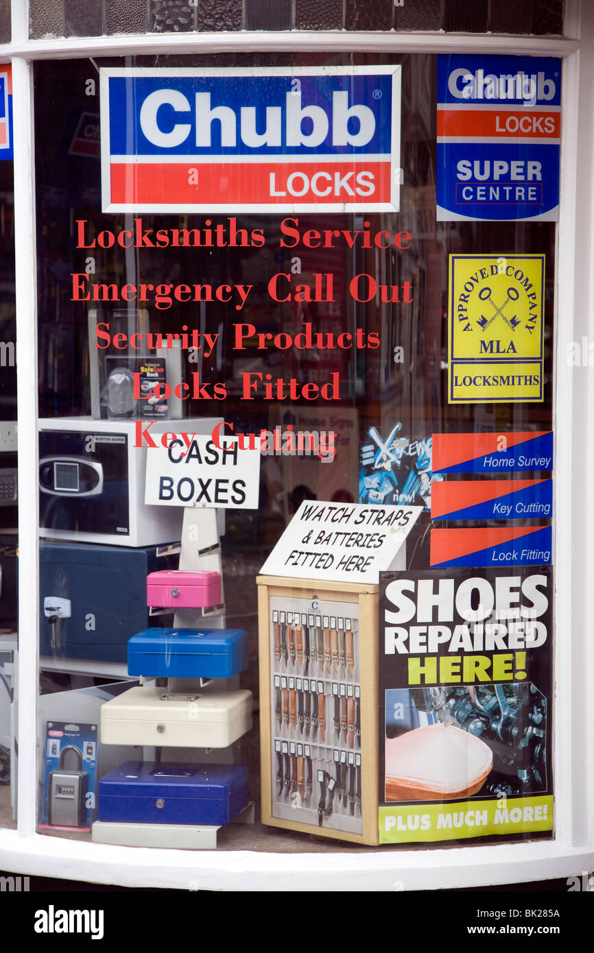 Locksmith shop window display - Stock Image