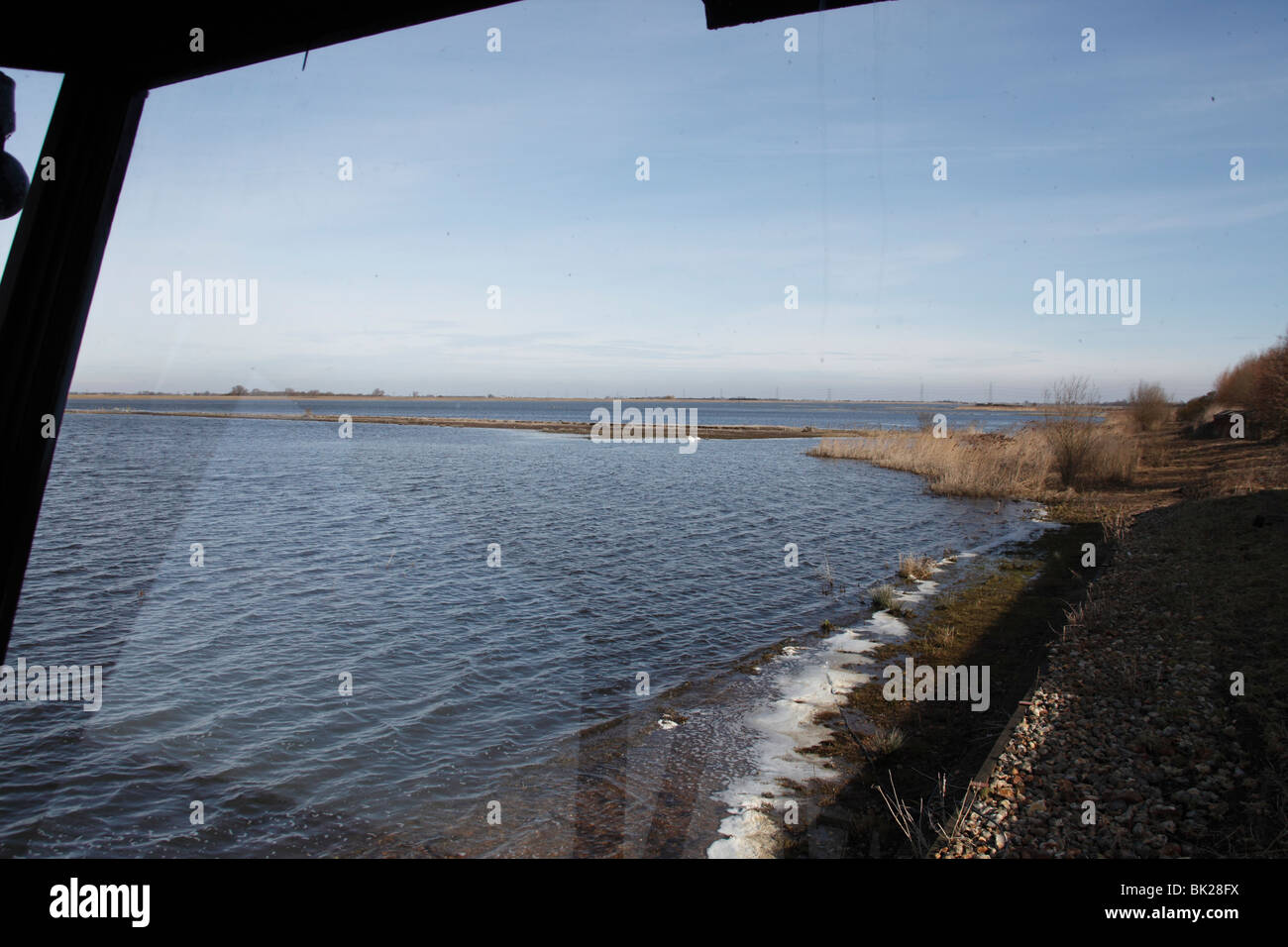 WWT Welney view from main observation hide - Stock Image