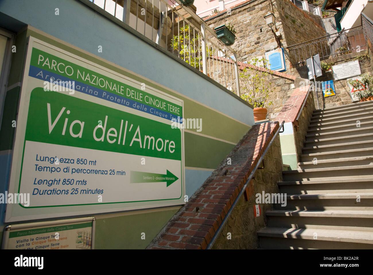 Start of the Via del Amore, Riomaggiore, Cinque Terre, Liguria, Italy - Stock Image