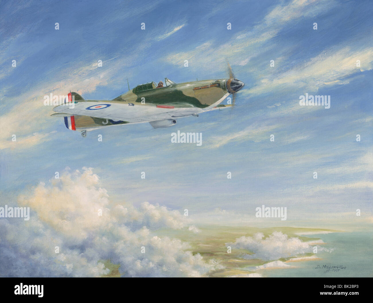 A Hawker Hurricane flying over the coast - Stock Image