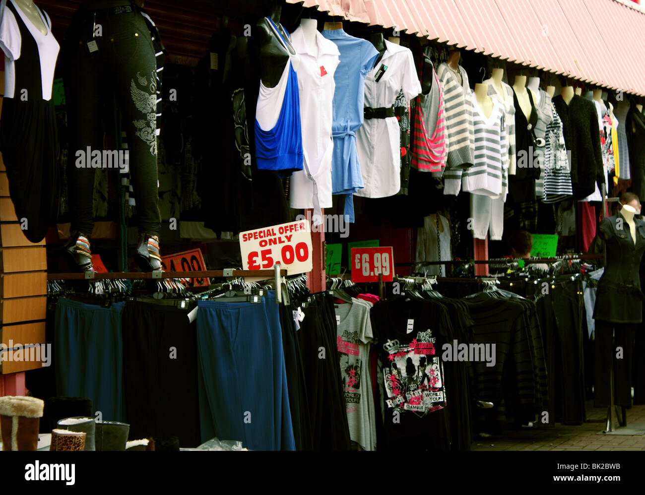 A clothing retail market stall in Skegness Stock Photo