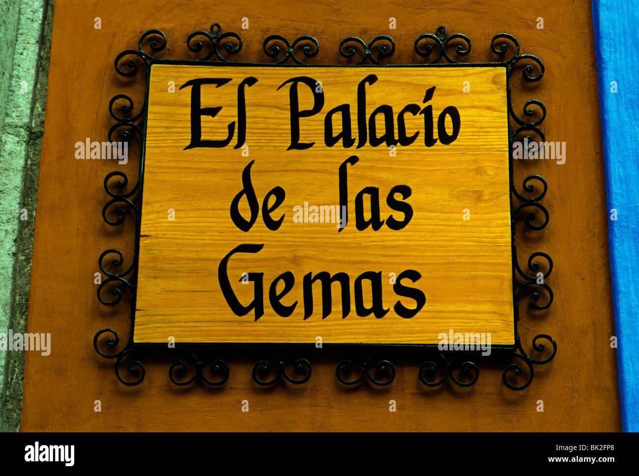 El Palacio de las Gemas, jewelry store, Calle Macedenio Alcala, Alcala Street, capital city, Oaxaca de Juarez, Oaxaca, Oaxaca State, Mexico Stock Photo