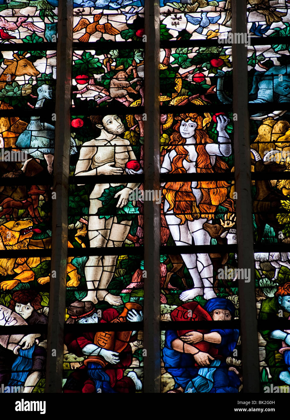 Stained glass windows in Oude Kerk or Old church in Delft The Netherlands - Stock Image