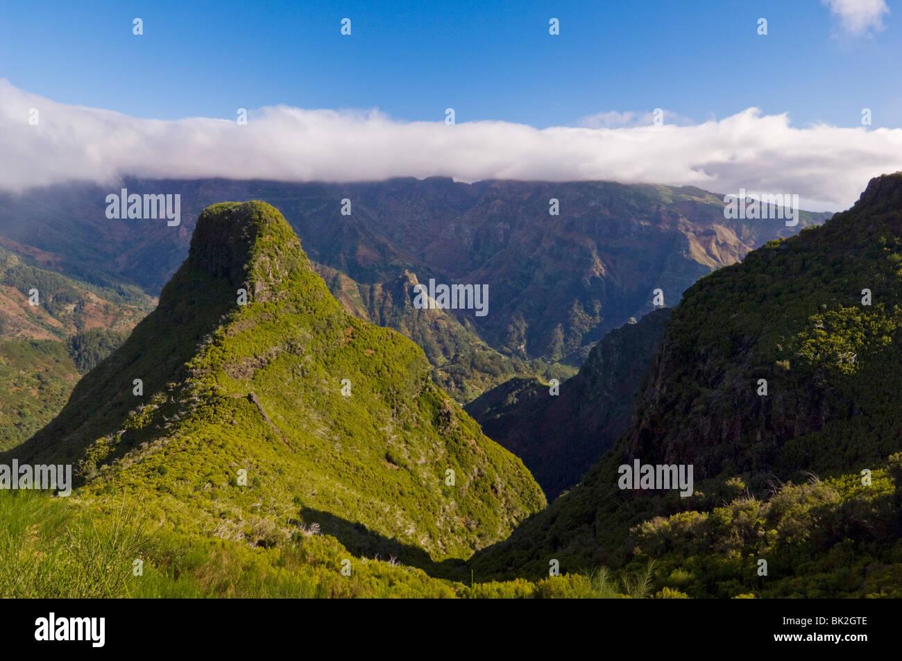 View towards Serra de Aqua from Route 105 to the Paul da Serra, Madeira, Portugal, EU, Europe - Stock Image