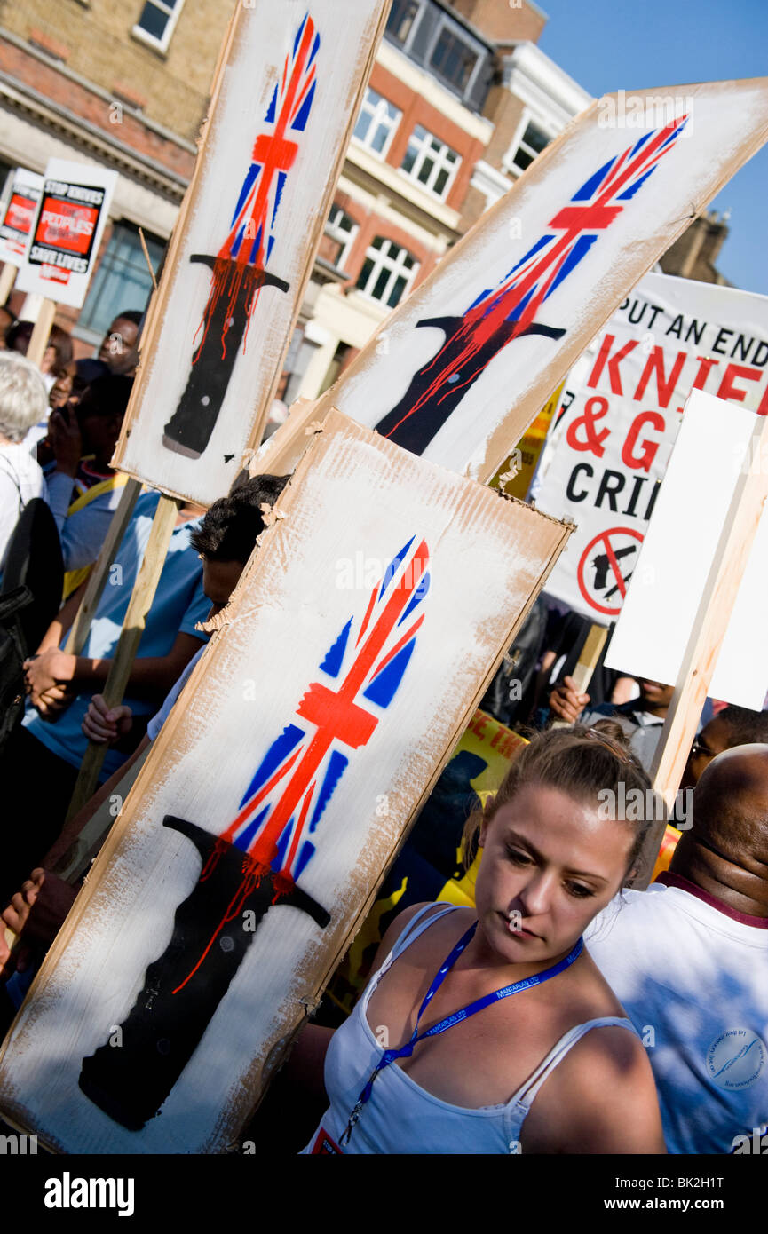 A march against knife crime goes from Kennington to central London - Stock Image