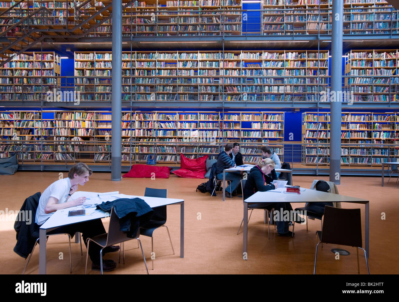 Modern interior of Delft Technical University Library in Delft The Netherlands, Architect Mecanoo - Stock Image