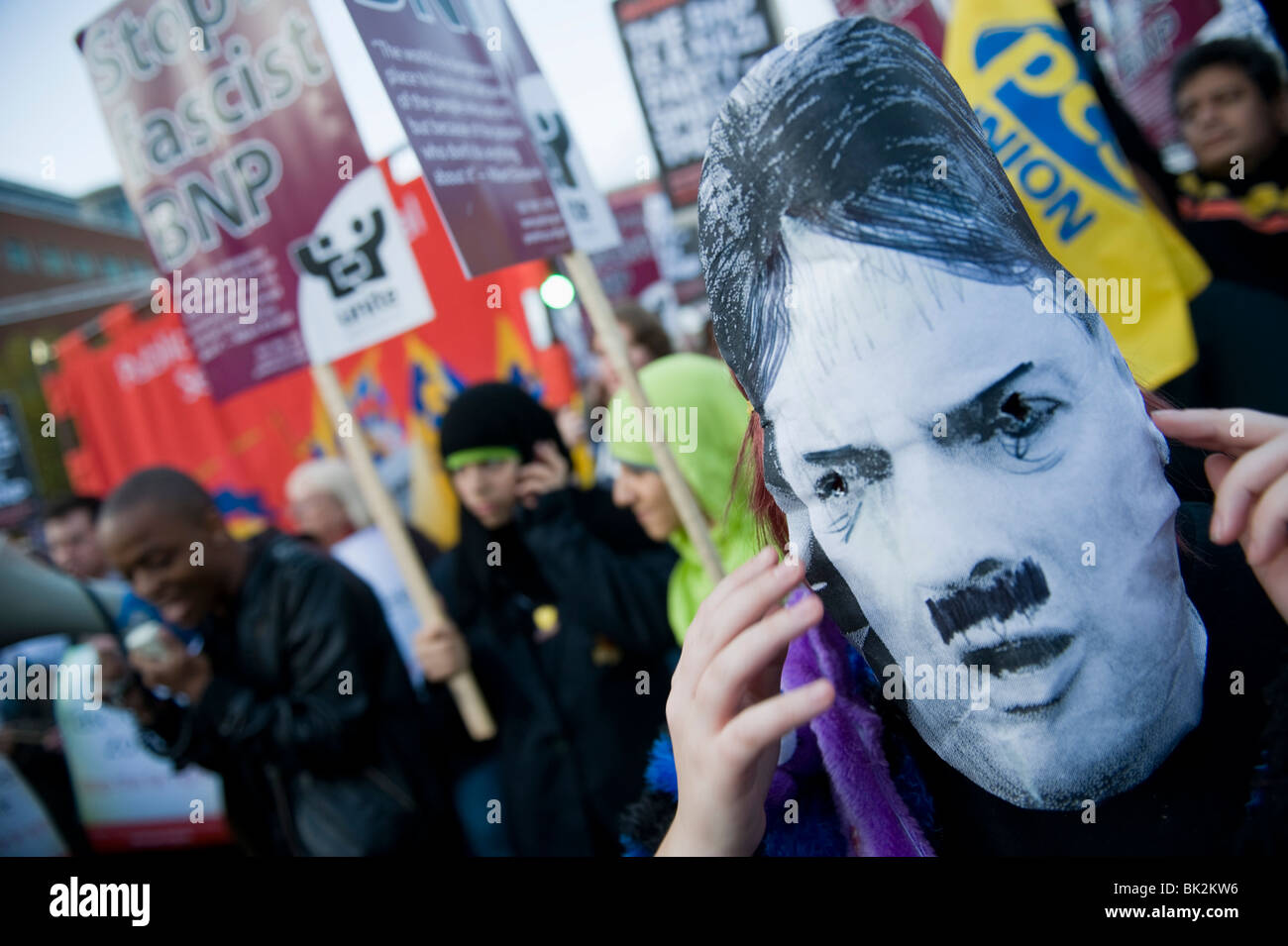 Protestors, against the inclusion of Nick Griffin of the BNP in BBC's Question Time, gather outside the Television - Stock Image
