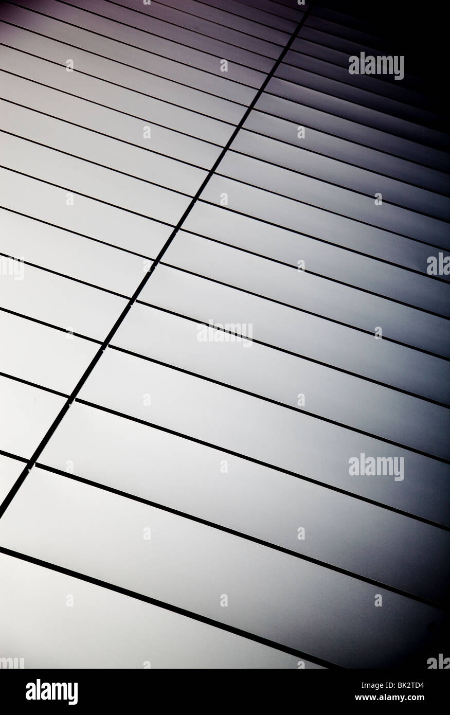 Wall made of Polished steel plates - Stock Image