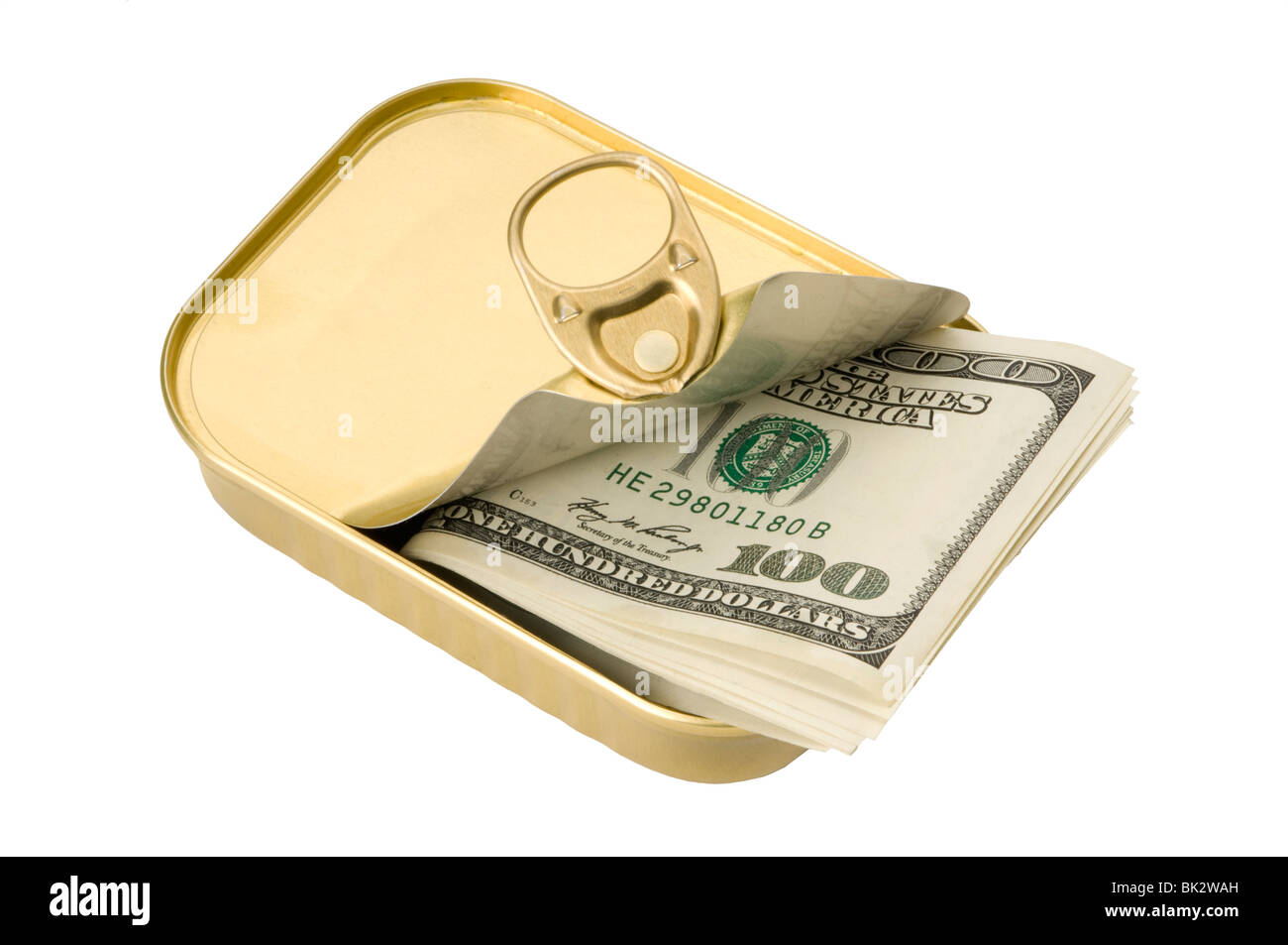 tin with money inside - Stock Image