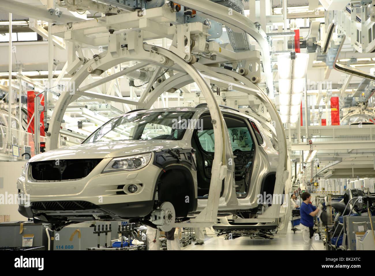 Golf car production, VW Werk Wolfsburg, VW car factory Wolfsburg, Lower Saxony, Germany, Europe - Stock Image