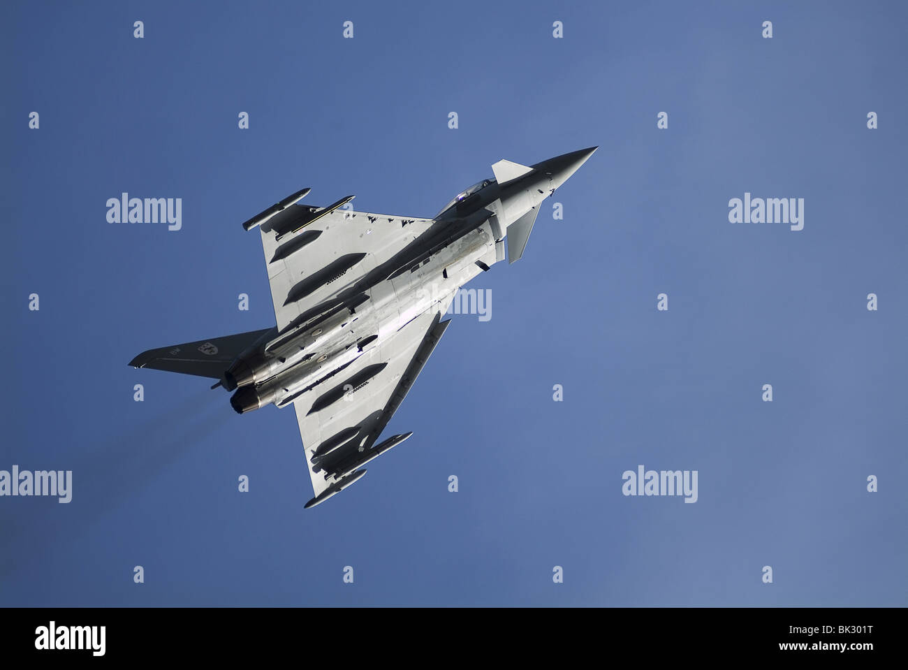 Typhoon (Eurofighter), a highly capable and extremely agile aircraft is powered by twin turbofans to Mach 2 at 65,000ft. - Stock Image
