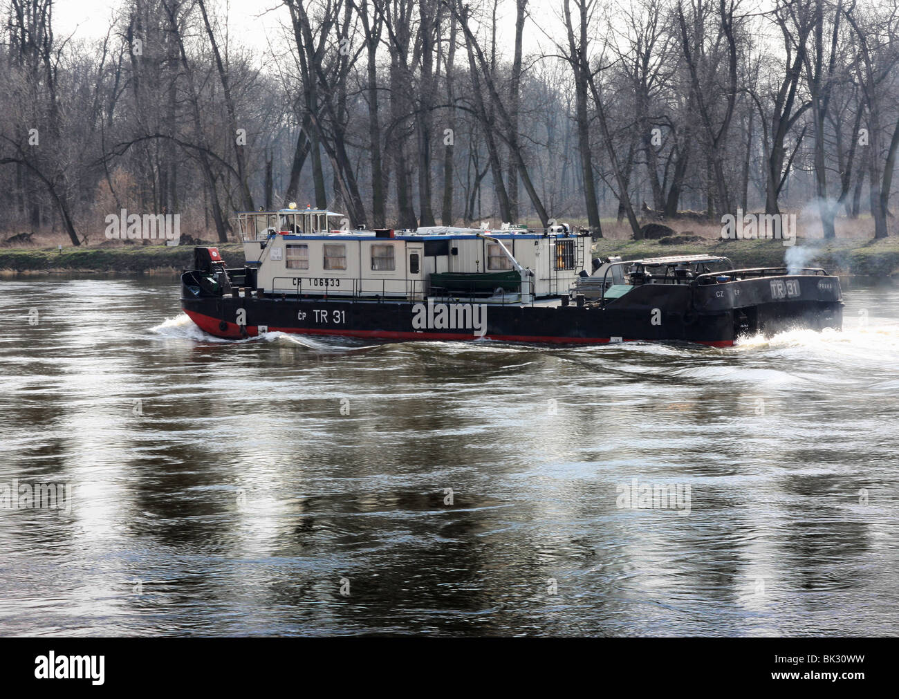Towboat on the Labe River - Stock Image