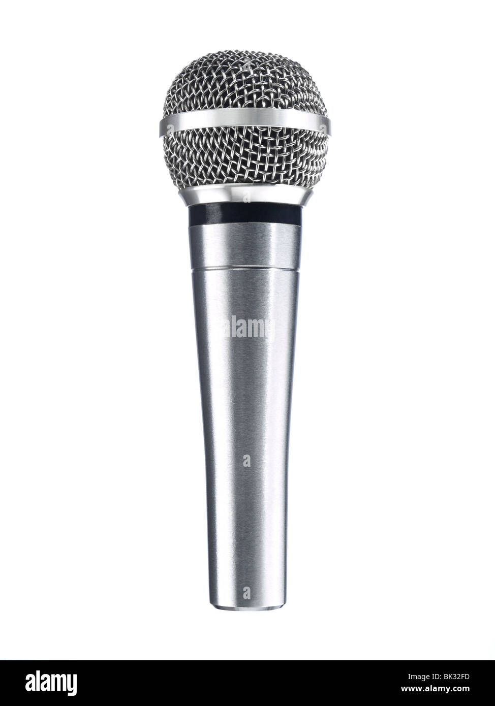 A metallic microphone isolated over a white background. - Stock Image